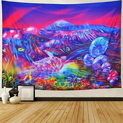 Psychedelic Tapestry Wall Hanging for Bedroom Large Trippy Mushroom Vibrant Cool $39.99