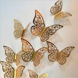 3D Wall Butterfly Stickers Hollow Home 12pcs Decor Decals Decoration Bedroom Art $8.97