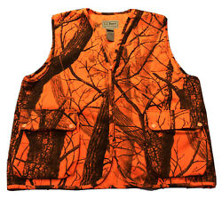 Vintage Men#x27;s LL Bean Realtree Orange Camo Hunting Full Zip Up Vest Sz L Large