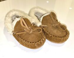 Crewcuts J Crew Kids Boys Slipper House Shoe Moccassin Brown Suede Fur Youth 10 $19.99