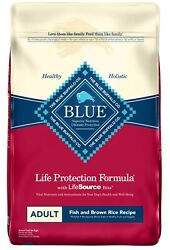 Blue Buffalo Fish and Brown Rice Recipe Adult Dry Dog Food 30 lb NEW $35.86