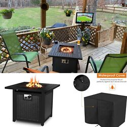 28quot; Propane Gas Fire Pit Table 50000 BTU Outdoor Backyard Heater Patio w Cover $189.99