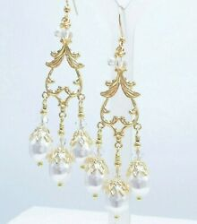 White Imitation Pearl Crystal Gold Plated Bridal Chandelier Earrings Wedding $41.99