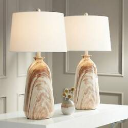 Modern Rustic Table Lamps Set of 2 Swirling Brown for Living Room Bedroom House $149.99