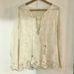 Oddy Boutique NWT Lace Boho Tunic Blouse Cream Size M L $20.00
