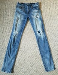 American Eagle Mens Next Level Airflex Men#x27;s 30x32 Distressed Blue Stretch Jeans $26.99