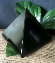 52.6g NATURAL JET BLACK OBSIDIAN CRYSTAL HEALING PYRAMID Italy REIKI CHARGED $14.40