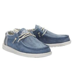 Hey Dude Mens Wally Linen Natural Blue Shoes 110792132 $59.95