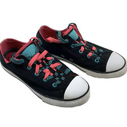 Converse Chuck Taylor All Star Girls Juniors 4 Low Top Shoes Black Pink Blue $19.87