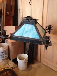 Lt 6 Stained Glass Chandelier Antique $525.00