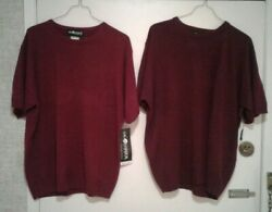 Two NWT Sag Harbor Soft red and burgundy Sleeve Sweater Top sz X Large $15.95