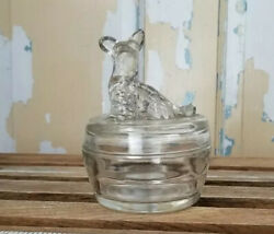 Vintage Powder Buff Clear Glass Scotty Dog Container $15.00
