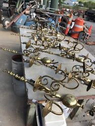 Set of 10 matching antique cast brass five arm wall sconce 34 x 25 x 10 $895.00
