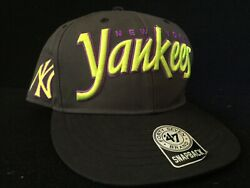 New York Yankees Snap Back Cap Forty Seven 47 Grey Lime Green Purple Stickers $11.97
