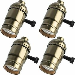 4 Pack 3 Way Lamp Socket Replacement E26 E27 Light Sockets with Turn Knob $2.17