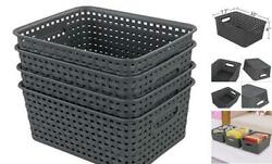 Plastic Storage Baskets Small Bins 4 Pack Gray Organizer Set10quot; x 7.7quot; x 4quot; $22.05