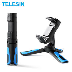 TELESIN Mini Selfie Stick Tripod Phone Clip With Cold Shoe For GoPro Osmo Action $12.74