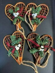 Rustic Christmas stick snow shoes Tree Ornaments set of 4 $10.00