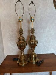 Vintage Stiffel Solid Brass Traditional Trophy Urn 34quot; Table Lamp 3 Way Switch $445.02