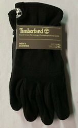 MENS L XL TIMBERLAND BLACK POLY FLEECE LINED TOUCHSCREEN CAPABLE GLOVES LOGO $21.88