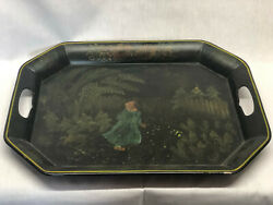 Antique Tole Painted Tray W Folky Little Girl $45.00