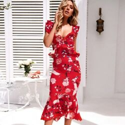Floral summer Party Women Evening women#x27;s Fashion Maxi V Neck Cocktail Long $28.30