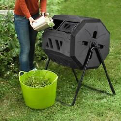 42 Gallons Compost Bin Garden Composting Tumbler 2 Chambers Dual Rotating US $49.99