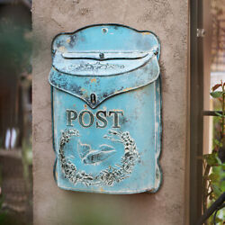 Rustic Vintage Retro Metal Wall Mount Mailbox Post Letter Box House Garden Decor $39.59