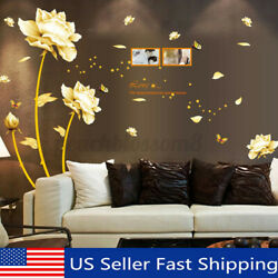 Removable PVC Gold Flower Wall Sticker Decal Mural Art Wall Living Room Deco $10.80