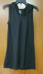 Catalina Women#x27;s Hooded Sleeveless Lace Cover Up Dress Size M $15.00