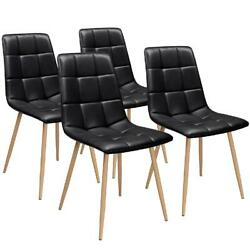 Set of 4 PU Leather Dining Side Chair Contemporary Home Kitchen Furniture Black $133.99