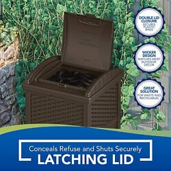 Suncast 33 Gallon Hideaway Can Resin Outdoor Trash with Lid Use in Backyard $51.99