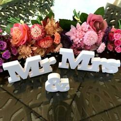Wedding Decoration Mr amp; Mrs White Wooden Letters Sign For Sweetheart Table Decor $5.28