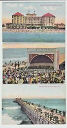 Lot of 3 Long Beach CA Vintage Postcards Hotel Virginia Band Stand Pleasure Pier $7.99