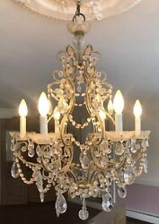Antique Italian French Crystal Macaroni Beaded Chandelier 6 Light $1200.00