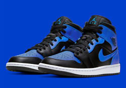Nike Air Jordan 1 Mid Shoes Black Hyper Royal White 554724 077 Men#x27;s Or GS NEW $210.99