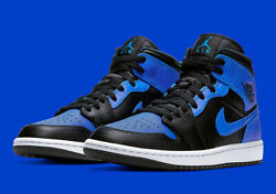 Nike Air Jordan 1 Mid Shoes Black Hyper Royal White 554724 077 Men#x27;s Or GS NEW $200.99