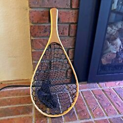 Vintage Fly Fishing Net Wood Oval 14quot; Same Day Shipping $25.00