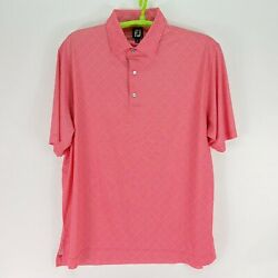 Footjoy Mens Golf Polo Shirt XXL Athletic Fit Stretch Pro Dry Pink Checkered $24.97