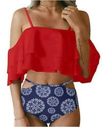 Tempt Me Women Two Piece Swimsuit High Waisted Off Shoulder Rd Bu a Size $9.99