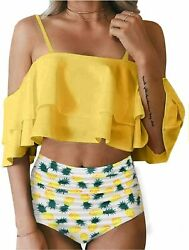 Tempt Me Women Two Piece Swimsuit High Waisted Off Pineapple a Size XX Large e $9.99