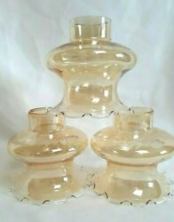 Vintage 3 Replacement Shades Globe Amber Glass Etched Ruffled Edge Light Fixture $24.95