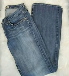 Big Star Womens Maddie Mid Rise Boot Cut Flap Medium Wash Jeans Size 28 Long $27.95