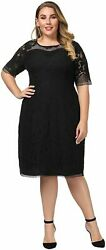 Chicwe Women#x27;s Plus Size Lined Floral Lace Dress Knee Length Black Size 3.0 $9.99