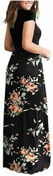 AUSELILY Women#x27;s Short Sleeve Round Neck Maxi Casual Rose Black Size XX Large $9.99