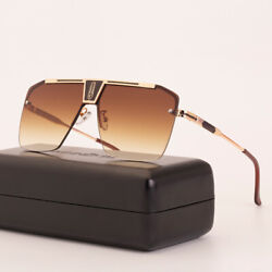 Oversized Square Aviator Sunglasses Pilot Metal Bar Men#x27;s Designer Fashion UV400