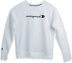 Champion Women#x27;s Powerblend Boyfriend Crew Sweatshirt White Size Large 8OXr $15.00