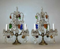 Antique PAIR LAMPS Girandoles CRYSTAL FRUIT Clusters PRISM FRANCE Baccarat Style $2950.00