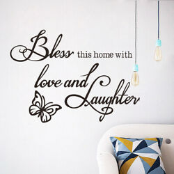 Bless this home with love and laughter Wall Sticker Decoration Wall Decal black $3.99