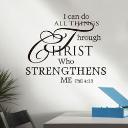 I Can Do All Things Through Christ Wall Sticker Decoration Wall Decal black $3.99